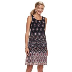 Petite Dana Buchman Printed Mesh Overlay Sheath Dress