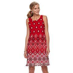 Petite Dana Buchman Printed Mesh Overlay Sheath Dress