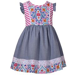 Toddler Girl Bonnie Jean Print Lace-Trim Dress