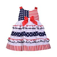 Baby Girl Bonnie Jean Star & Stripe Print Dress