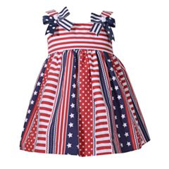 Baby Girl Bonnie Jean Stars & Stripes Poplin Dress