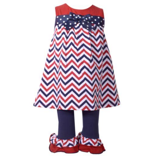 Baby Girl Bonnie Jean Chevron Tunic & Ruffle Leggings Set