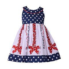 Toddler Girl Bonnie Jean Star Print Bow Dress