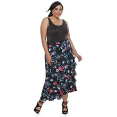 Plus Size Jennifer Lopez Ruffle Satin Maxi Skirt