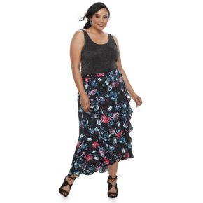 Plus Size Jennifer Lopez Ruffle Satin Maxi Skirt