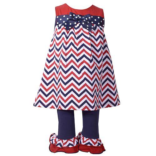 Toddler Girl Bonnie Jean Chevron Tunic & Ruffle Leggings Set