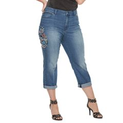 Plus Size Jennifer Lopez Embroidered Capris