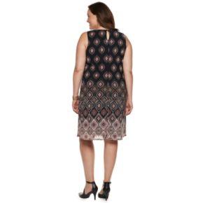 Plus Size Dana Buchman Printed Mesh Overlay Sheath Dress
