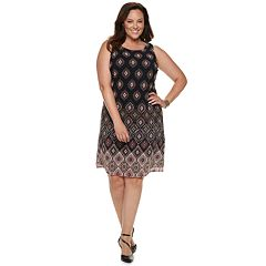 Plus Size Dana Buchman Printed Mesh Overlay Sheath Dress