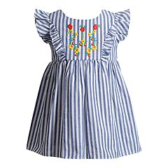 Baby Girl Youngland Striped Embroidered Dress