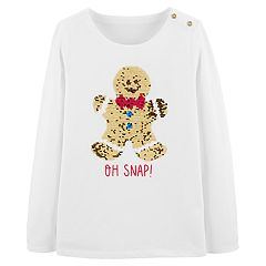 Girls 4-12 OshKosh B'gosh® Flip-Sequin Gingerbread Cookie Top