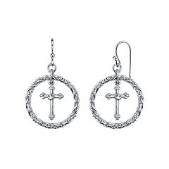 1928 Crystal Cross Hoop Drop Earrings