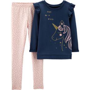 "Girls 4-6x Carter's Unicorn ""One Of A Kind"" Graphic Sweatshirt & Glitter Leggings Set"