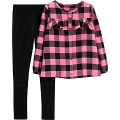 Girls 4-6x Carter's Buffalo Check Flannel Shirt & Leggings Set