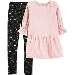 Girls 4-6x Carter's Lurex Check Tunic & Bow Leggings Set