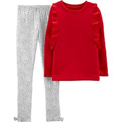 Girls 4-8 Carter's Ruffled Sweatshirt & Dot Leggings Set