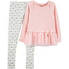 Girls 4-8 Carter's Tulle-Hem Top & Heart Leggings Set