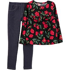 Girls 4-8 Carter's Floral Poplin Henley Top & Jeggings Set