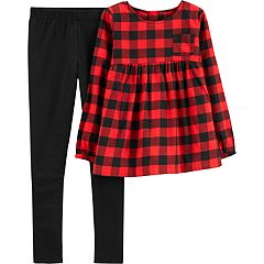 Girls 4-8 Carter's Buffalo Check Top & Leggings Set