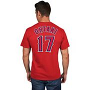 Men's Majestic Los Angeles Angels of Anaheim Shohei Ohtani Player Name and Number Tee