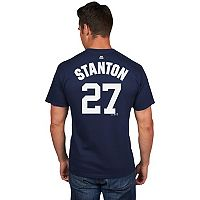 Men's Majestic New York Yankees Giancarlo Stanton Player Name and Number Tee