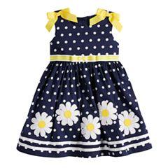 Baby Girl Blueberi Boulevard Polka-Dot Daisy Applique Sundress