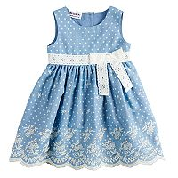 Baby Girl Blueberi Boulevard Embroidered Chambray Dress