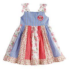 Baby Girl Blueberi Boulevard Print Pieced Sundress