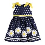 Toddler Girl Blueberi Boulevard Polka-Dot Daisy Applique Sundress