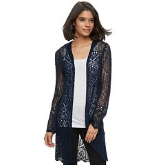 Juniors' It's Our Time Pointelle Hooded Cardigan