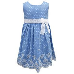 Toddler Girl Blueberi Boulevard Embroidered Chambray Dress