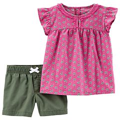 Baby Girl Carter's Floral Printed Top & Poplin Shorts Set