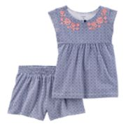 Baby Girl Carter's Vertical Embroidered Floral Tank Top & Shorts Set