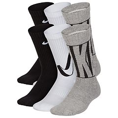 classic fit 04610 904c9 Boys 4-20 Nike 6-Pack Training Crew Socks. Black Gray White ...