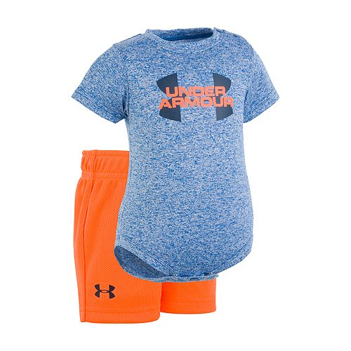 Baby Boy Under Armour Logo Graphic Bodysuit & Shorts Set
