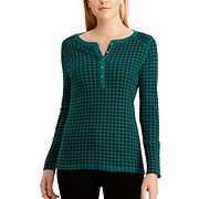 Women's Chaps Plaid Cotton Henley