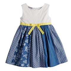 Baby Girl Blueberi Boulevard Eyelet Chambray Pieced Sundress