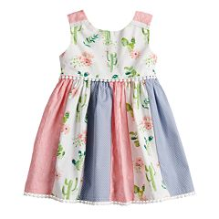 Toddler Girl Blueberi Boulevard Cactus Print Pieced Dress