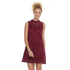 Juniors' Liberty Love Mockneck Lace Shift Dress