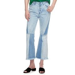k/lab High Waisted Two Tone Flare Jeans