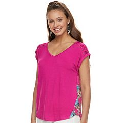 Juniors' Pink Republic Cross-Shoulder Popover Top