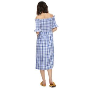 k/lab Plaid Smocked Off-the-Shoulder Bardot Midi Dress