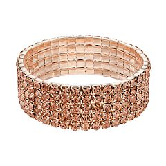 Peach Simulated Crystal Multi Row Stretch Bracelet