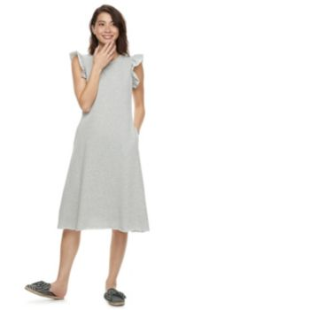 k/lab Ruffled A-Line Sweatshirt Dress