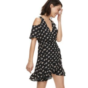 k/lab Ruffled Polka-Dot Cold-Shoulder Mini Dress