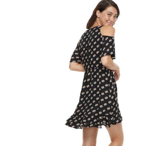 k/lab Ruffled Polka-Dot Cold-Shoulder Mini Dress