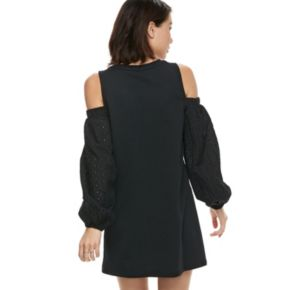 k/lab Lace Cold-Shoulder Sweatshirt Dress