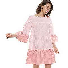 k/lab Tiered Bell Sleeve Pinstripe Dress