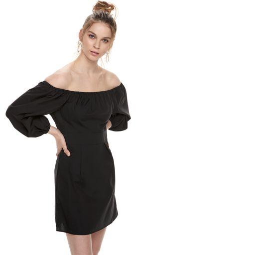 k/lab Bardot Balloon Sleeve Mini Dress