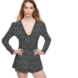 k/lab Long Sleeve Tie Front Romper
